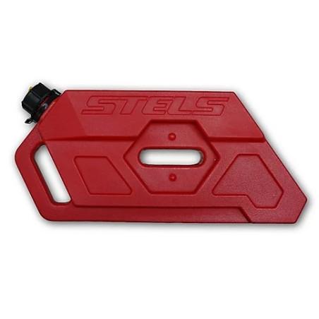 Stels benzinetank inclusief montagebeugel.  Rood.  Inhoud 5 liter